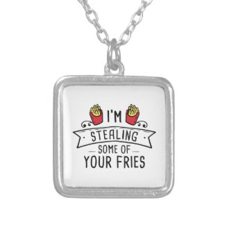 Some Of Your Fries Silver Plated Necklace