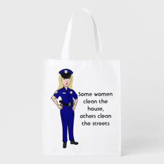 Some Women Clean Police Officers Reusable Bag Market Totes