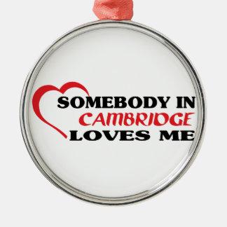 Somebody in Cambridge loves me Metal Ornament