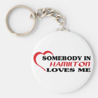 Somebody in Hamilton loves me Keychain