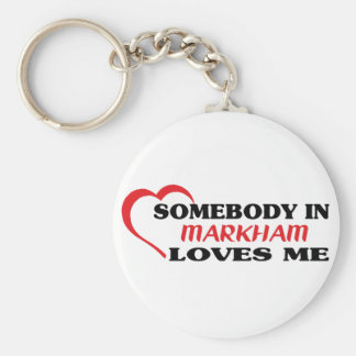 Somebody in Markham loves me Basic Round Button Keychain