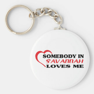 Somebody in Savannah loves me t shirt Keychain