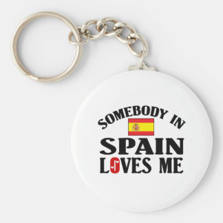 Somebody In Spain Loves Me Basic Round Button Keychain