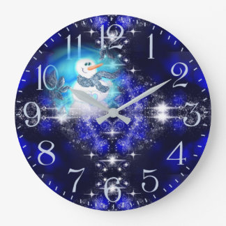 Somebody Loves You Emotional Snowman Sparkle Large Clock