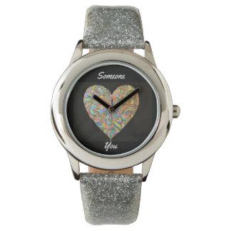 Someone Hearts You Women's SIlver Glitter Watch