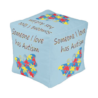 Someone I love has autism (multi) Cube Pouf