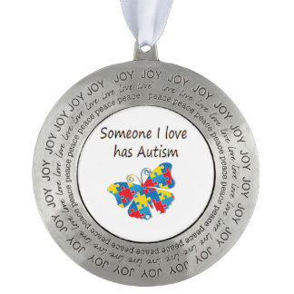 Someone I love has autism (multi) Round Pewter Ornament
