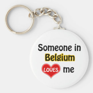 Someone in Belgium Loves me Basic Round Button Keychain