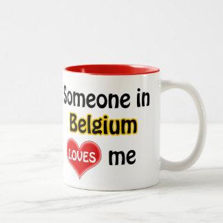 Someone in Belgium loves me Two-Tone Coffee Mug