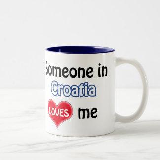 Someone in Croatia loves me Two-Tone Coffee Mug