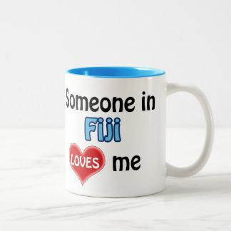 Someone in Fiji loves me Two-Tone Coffee Mug