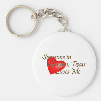 Someone in Houston Loves Me Basic Round Button Keychain