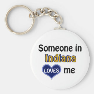 Someone in Indiana Loves me Basic Round Button Keychain