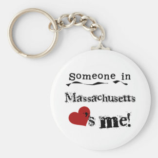 Someone In Massachusetts Loves Me Basic Round Button Keychain