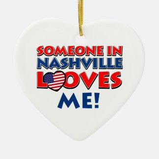Someone in nashvill loves me ceramic heart ornament