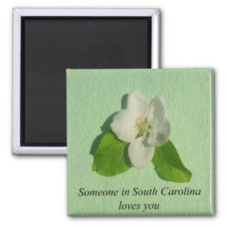 Someone In South Carolina Loves You- Apple Blossom Square Magnet