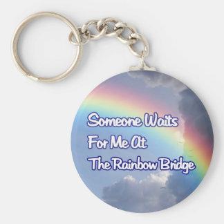 SOMEONE WAITS FOR ME AT THE RAINBOW BRIDGE DOG CAT KEYCHAIN