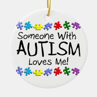 Someone with Autism Loves Me Autism Puzzle Round Ceramic Ornament