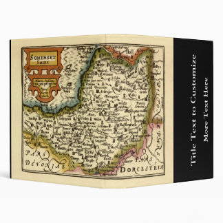 """""""Somersetshire"""" Somerset County Map, England 3 Ring Binder"""