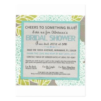 Something Blue Bridal Shower Invitation Postcard