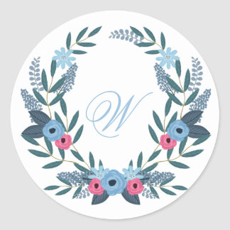 Something Blue Floral Wreath with Monogram Classic Round Sticker