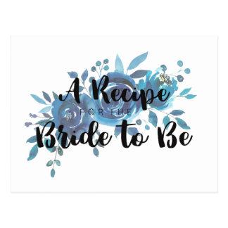 Something Blue Rose Bridal Shower Recipe Card