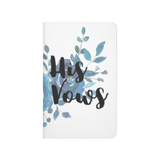Something Blue Watercolor Floral Wedding His Vows Journal