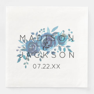 Something Blue Watercolor Floral Wedding Monogram Disposable Napkins
