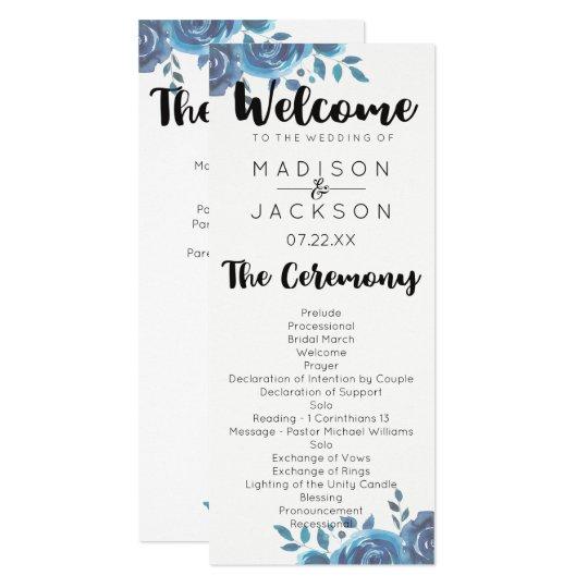 Something Blue Watercolor Floral Wedding Program