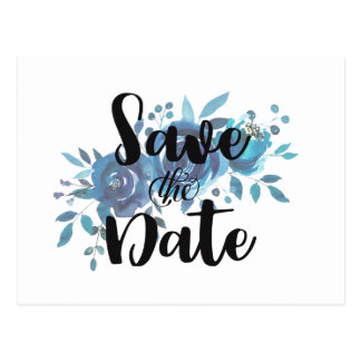 Something Blue Watercolor Wedding Save the Date Postcard