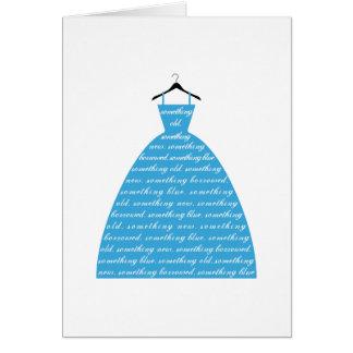 something blue, wedding dress, bridal gown card