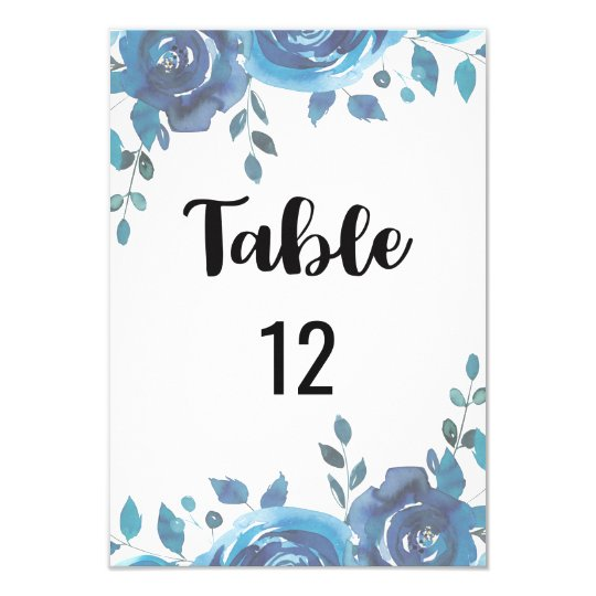 Something Blue Wedding Table Number Seating Chart Card