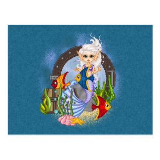 Something Fishy Mermaid Pixel Art Postcard