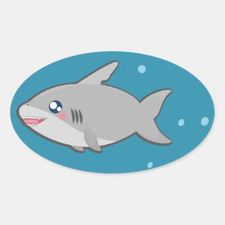 Something is kawaii fishy oval sticker