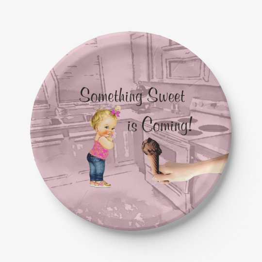 Something Sweet is Coming Baby Shower Plates 7 Inch Paper Plate