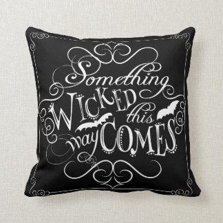 Something Wicked Chalkboard Halloween Pillow