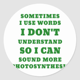 Sometimes I Use Words I Dont Understand So I Can Classic Round Sticker