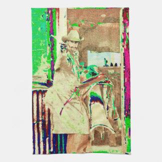 Sometimes Its Fast Kitchen Towel Retro Cowboy