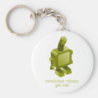 Sometimes Robots Get Sad Basic Round Button Keychain