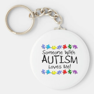 Somone With Autism Loves Me (PP) Basic Round Button Keychain