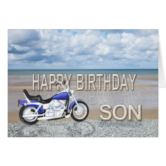 Son, a birthday card with a motor bike