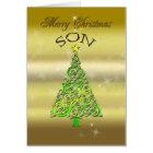 Son, a gold effect Christmas card