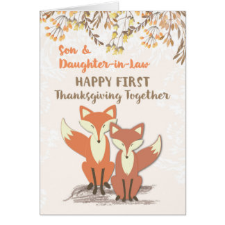 Son and Daughter-in-Law Newlyweds 1st Thanksgiving Card