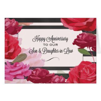 Son and Daughter-in-Law Wedding Anniversary Roses Greeting Card