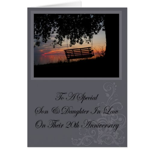 Son & Daughter In Law 20th Anniversary Card