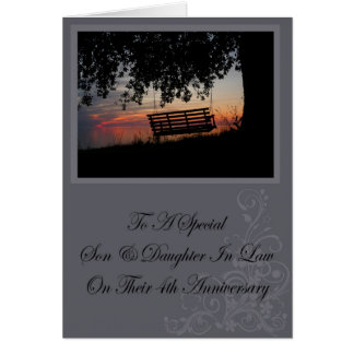 Son & Daughter In Law 4th Anniversary Card