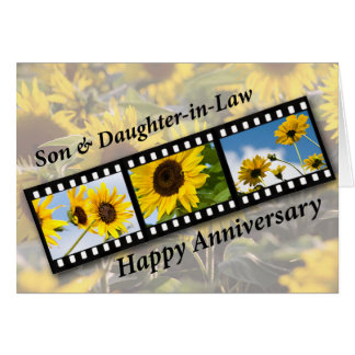 Son & Daughter-in-Law, Anniversary Sunflower Greeting Card