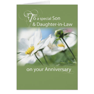 Son & Daughter-in-Law, Anniversary White Flowers Greeting Card