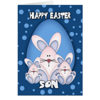 Son Easter Greeting Card With Cute Rabbits