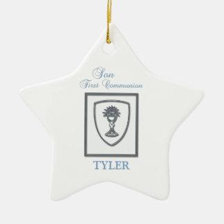 Son, First Communion Silver Chalice Ceramic Ornament